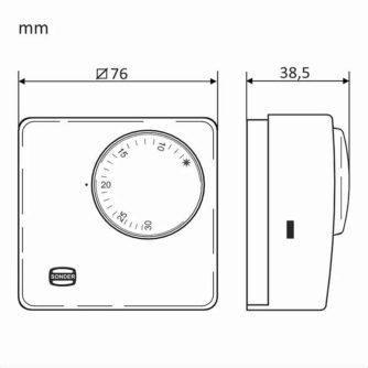 dimensiones Termostato mecánico con interruptor marcha:paro y luz piloto TA-3017 (frío y calor) ecobioebro