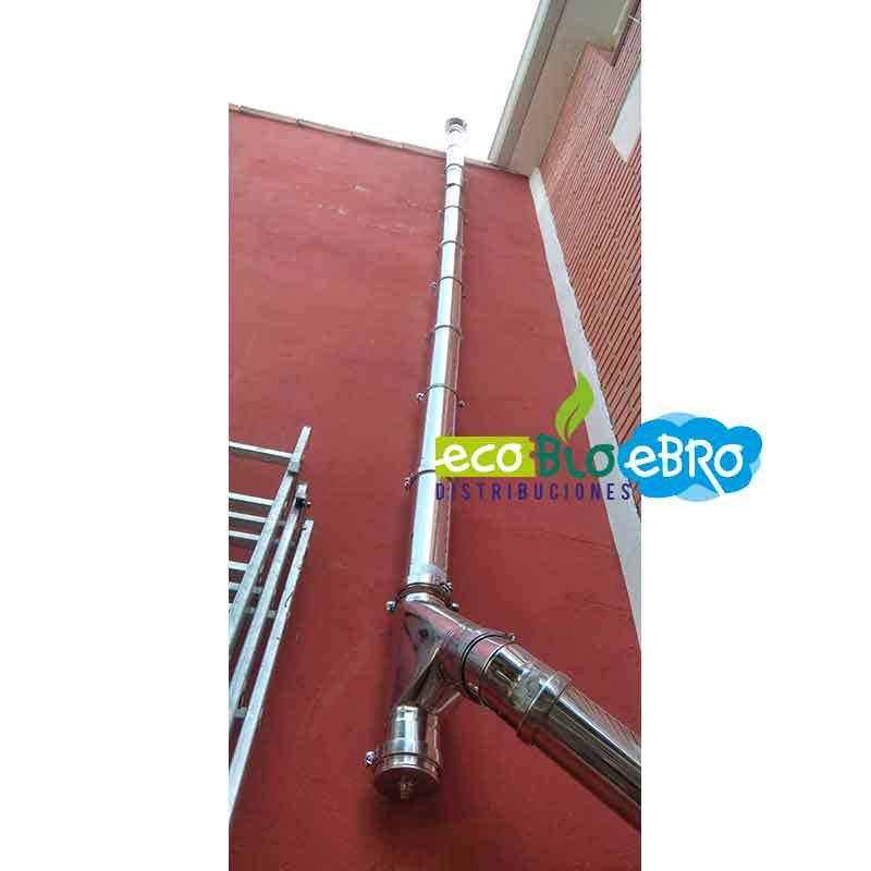 Vista-instalación-tubería-inox-316-doble-pared,-para-estufa-de-pellets,-diámetro-80-mm ecobioebro