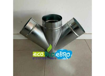 CRUZES-GALVANIZADAS-A-45º-Ø-150-mm-(distribución-aire-caliente)-ecobioebro