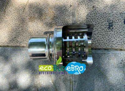 Terminal inox horizontal 80mm con tejadillo antilluvia y antiviento ecobioebro