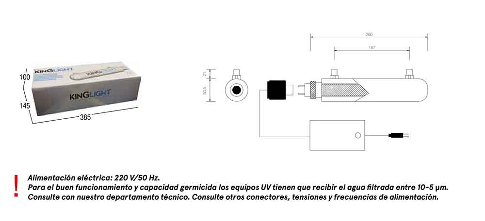 dimensiones EQUIPO ULTRAVIOLETA PARA OSMOSIS INVERSA (UV LED) KINGLIGHT ecobioebro