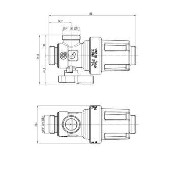 dimensiones Filtro desfangador magnético bajo caldera XS545900 (CALEFFI) ECOBIOEBRO
