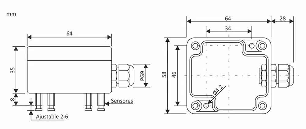 esquema Sensor detector de fuga de agua con señal de LED (SFA 01) ecobioebro