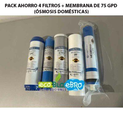 PACK AHORRO 4 FILTROS + MEMBRANA DE 75 GPD (ÓSMOSIS DOMÉSTICAS)