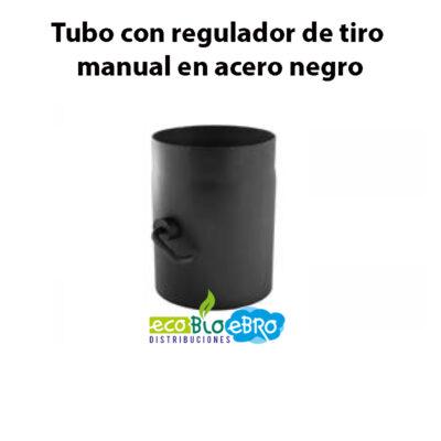 Tubo-con-regulador-de-tiro-manual-en-acero-negro-ecobioebro